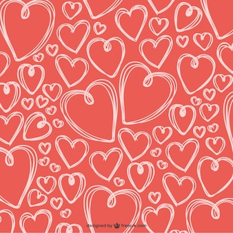 Scribbled valentine hearts background