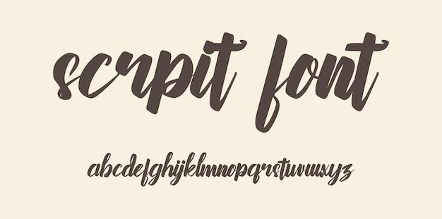 Script brush font alphabet