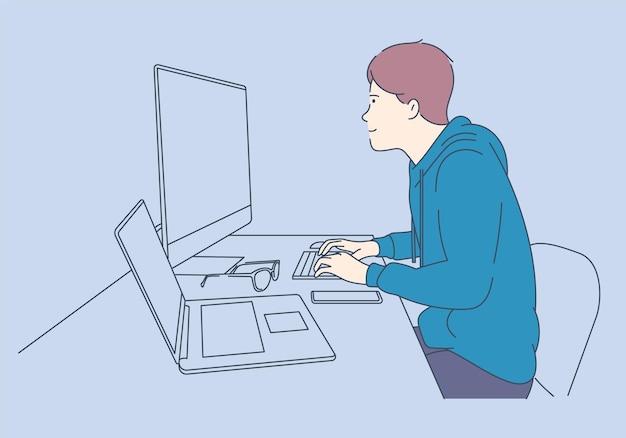 Написание скриптов и программирование на других языках php python javascript. молодой программист сконцентрировался на рабочем проекте. разработка технологий программирования и кодирования