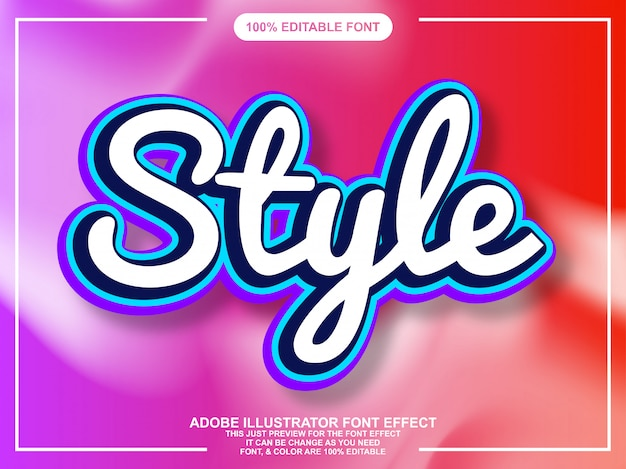 Script style editable typography font effect