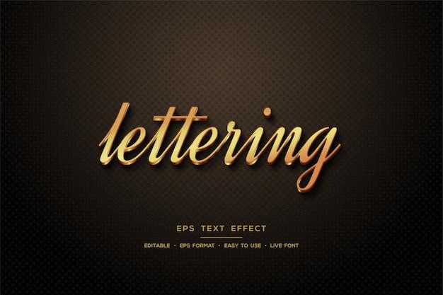 Script text style effect 3d elegant gold color.