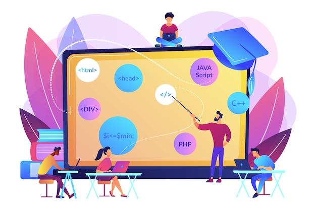 脚本、ソフトウェアエンジニアリング。コーディングワークショップ、コード作成ワークショップ、オンラインプログラミングコース、アプリとゲーム開発クラスのコンセプト。