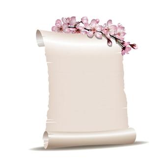 Прокрутите чистый лист бумаги с ветвью цветущей вишни, изолированной на белом фоне. векторная иллюстрация