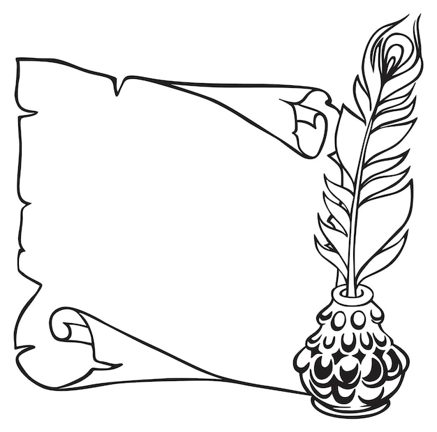 Scroll of paper, feather and inkwell in vintage sketch style. hand drawn vector illustration.