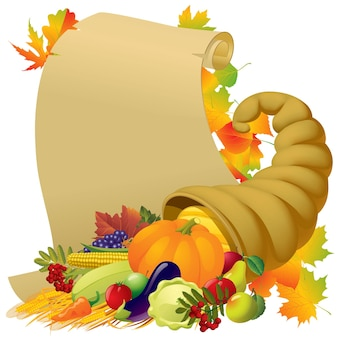 Scroll with the horn of plenty and vegetables