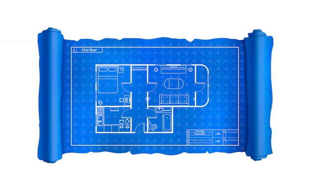 Scroll with house plan with furniture, blueprint on white