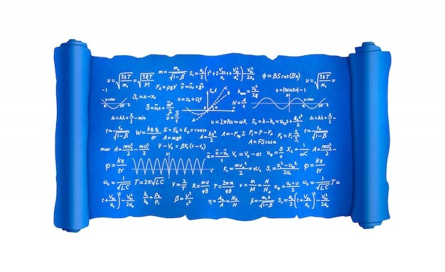 Scroll with lot of hand-drawn complicated scientific formulas and calculations, blueprint plan on white