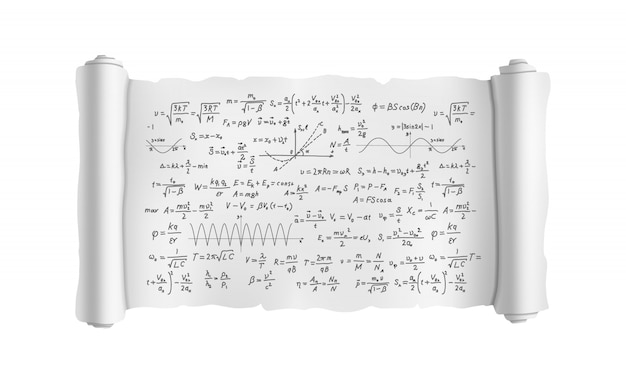Scroll with scientific formulas