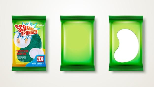 スクラブスポンジデザインセット、白い背景で隔離の食器洗いツール緑パッケージ、3dイラスト