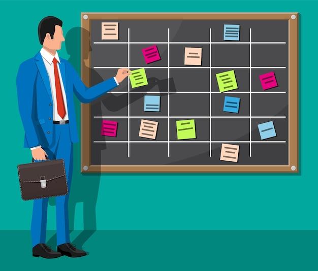Scrum agile board and businessman