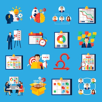 Scrum agile development flat icons set