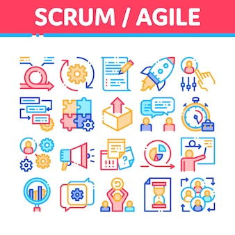 Scrum agile icons collection
