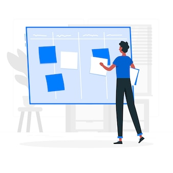 Scrum board concept illustration