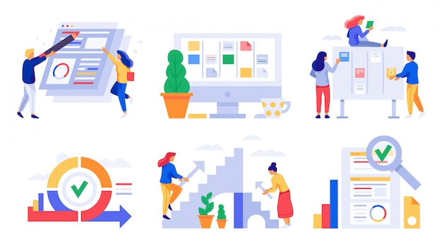 Гибкая разработка. спринт scrum board, задачи команды управления kanban и стратегия работы в области бизнеса векторная иллюстрация