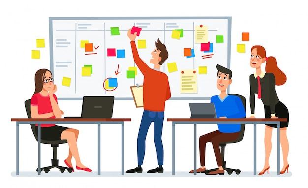 スクラムボード会議。ビジネスチーム計画タスク、オフィスワーカー会議、ワークフロー計画フローチャート漫画イラスト