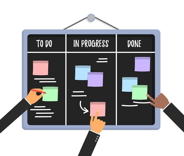 Scrum task board concept with human hands holding colorful sticky papers and markers