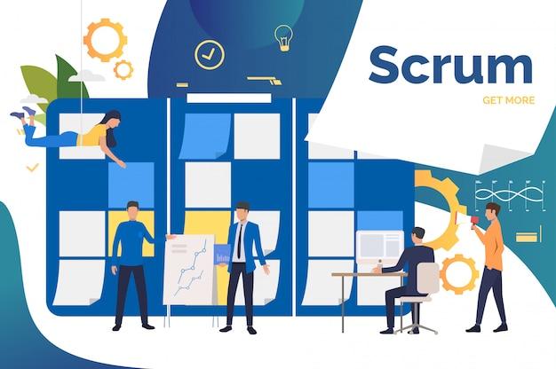 Scrum команда работает над проектом в офисе