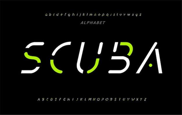 「スキューバ」抽象的なデジタル未来的な現代のアルファベットフォント