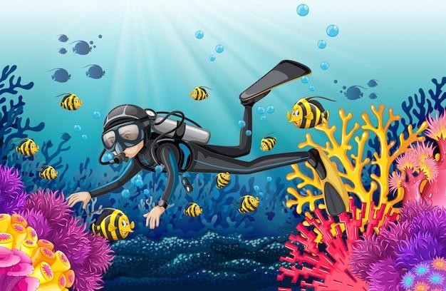 Scuba diver in a beautiful coral scene