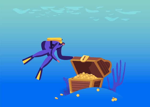Scuba diver character found open treasure chest with gold at sea bottom, lost pirate treasures hunting hobby or activity, underwater space research, adventure recreation
