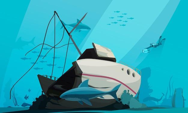 Scuba diver descends into ocean to explore sunken shipwreck on bottom of the sea