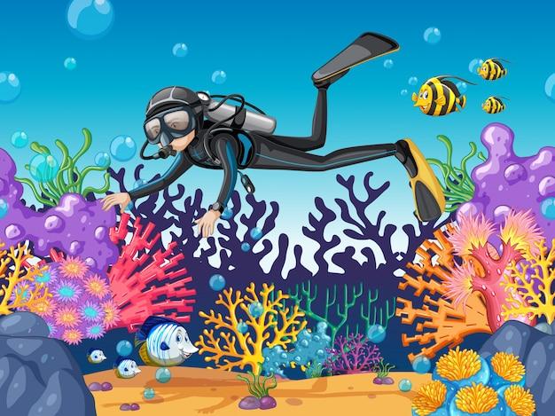 아름다운 산호초에서 스쿠버 다이버 다이빙