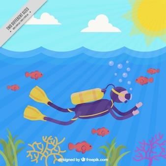Scuba diver enjoying the sea Free Vector