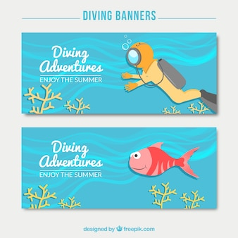 Scuba diver and fish diving banners