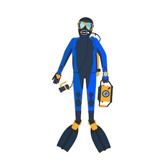Scuba diver flat style illustration