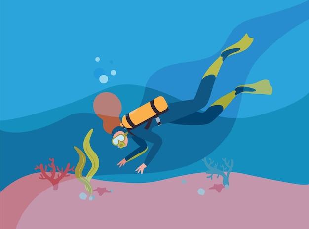 산소 실린더 평면 벡터 일러스트와 함께 잠수복에 스쿠버 다이버. 여자 스노클링 수중 만화 캐릭터입니다. 깊은 바다를 탐험하는 사람. 익스트림 관광. 활동적인 라이프 스타일.