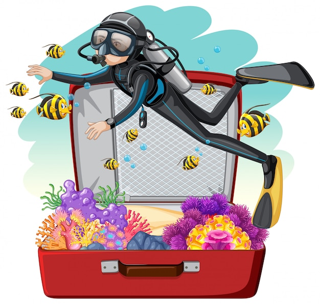 A scuba diver on the luggage
