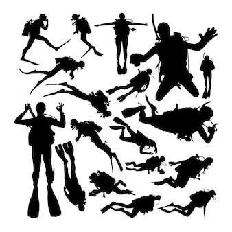 Scuba diver silhouettes