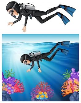Scuba diver swimming in a reef