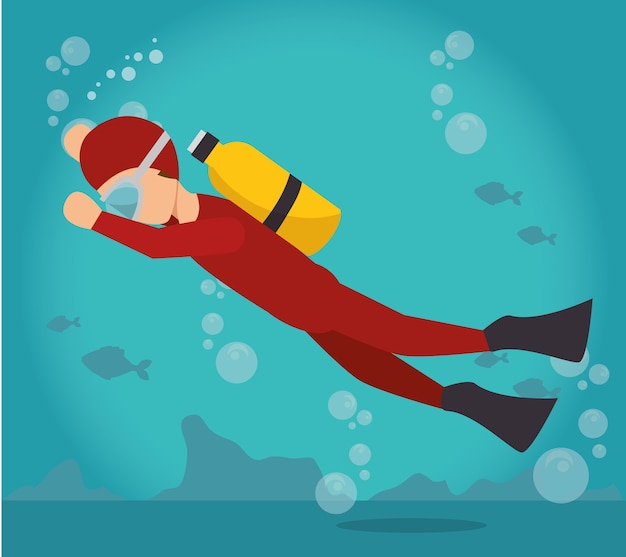 Scuba diver water sport extreme activity