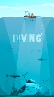 Scuba divers exploring shipwreck deep in the ocean flat comics style composition with underwater illustration