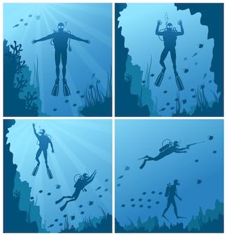 Аквалангисты под водой. океан и море, дайвинг-спорт, дайвинг и риф, натуральная рыба.