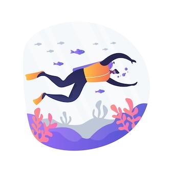 スキューバダイビングの抽象的な概念のベクトル図です。水中ダイバー、サンゴ礁、海の野生生物、冒険旅行、シュノーケルマスクと装備、海の島、水泳の抽象的な比喩。