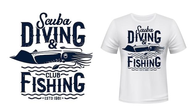 스쿠버 다이빙 및 낚시 클럽 티셔츠 프린트.