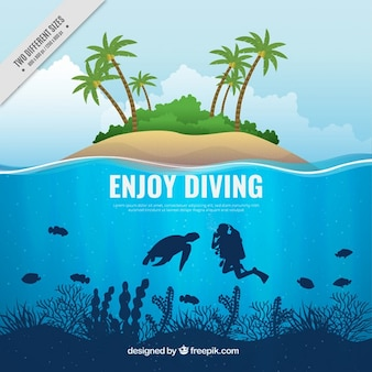 Scuba diving background and island