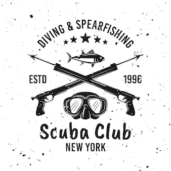 Scuba diving club and spearfishing vector monochrome emblem, label, badge or logo on background with removable grunge textures