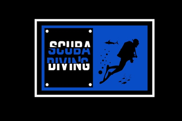 Scuba diving color blue and white