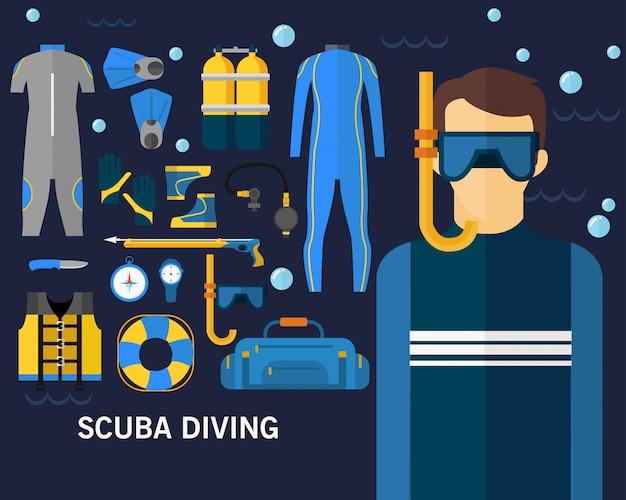 Scuba diving concept background