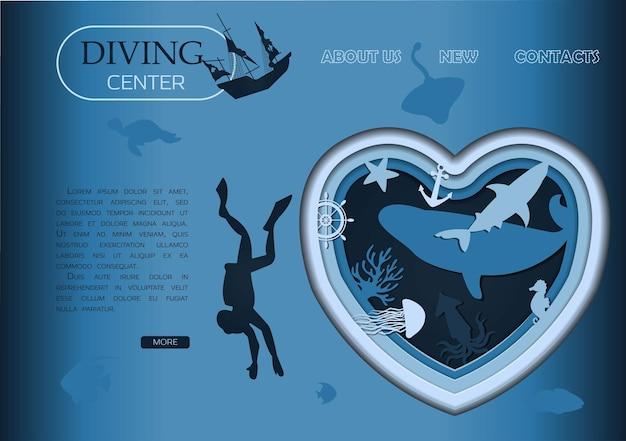 Подводное плавание с аквалангом глубокое погружение и морская жизнь, вырезанные из бумаги вектор подводный морской пейзаж дикая природа океана