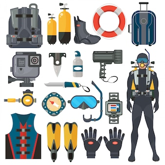 Scuba diving equipment accessories set