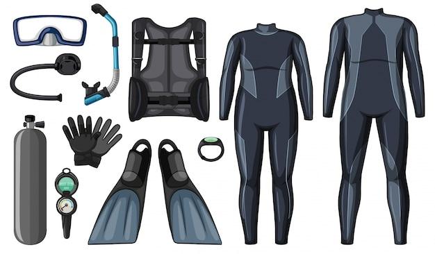 Scuba diving equipment in black color