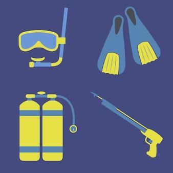 Scuba diving equipment vector icons