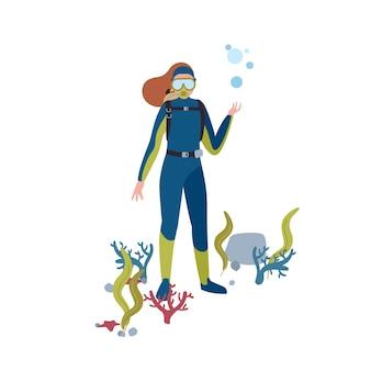 스쿠버 다이빙 평면 그림. 바다 밑바닥 만화 캐릭터에서 여성 다이버