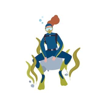 스쿠버 다이빙 취미 평면 벡터 일러스트 레이 션. 해저 만화 캐릭터에서 쉬고 있는 여성 다이버. 활동적인 레크리에이션, 수중 수영. 흰색 배경에 고립 된 수족관과 관광입니다.
