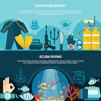 Scuba diving horizontal banners
