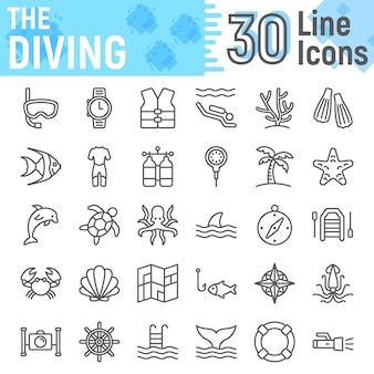 Scuba diving line icon set, underwater symbols collection